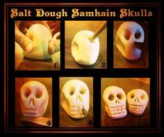 Samhain // Hallowe'en // Day of the Dead - Salt Dough Samhain Skulls - Ozark Pagan Mamma Samhain Halloween, Fall Halloween, Halloween Crafts, Halloween Rules, Halloween Clay, Halloween Ideas, Salt Dough Crafts, Wiccan Crafts, Diy Samhain Crafts