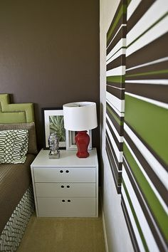 Click for DIY for lamp, dresser, headboard, canvas art...and more.  Great website....  4men1lady.com