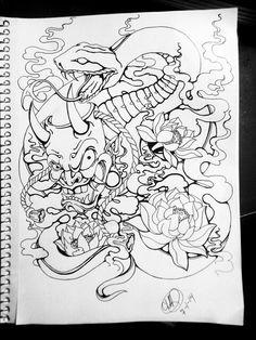 Hannya and Snake Tattoo Design Dali Tattoo, Fox Tattoo, Japanese Snake Tattoo, Tattoo Ideas, Tattoo Designs, Oriental, Fresh Tattoo, Asian Tattoos, Japan Tattoo