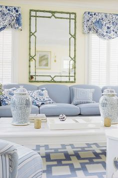 When it comes to making decorating decisions, all eyes are on the walls. Paint can completely change the way a room looks and feels. Here are our favorite living room paint colors. For more paint and color inspiration go to Domino. Blue And White Living Room, Blue Decor, Living Room Paint, Paint Colors For Living Room, Living Room Decor Country, White Decor, French Country Living Room, Contemporary Living Room Design, Blue White Decor