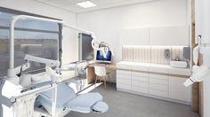 Gabinet stomatologiczny, unit SternWeber, meble lakierowane, płytki gresowe Ornamenta.