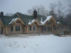 love log homes and snow