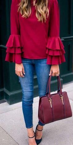bell sleeves blouse + marsala bag look