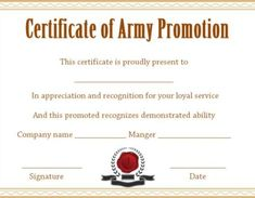 Promotion Certificate Template : Free Templates for Students, Employees & Army - Template Sumo Certificate Model, Certificate Of Completion Template, Certificate Of Achievement Template, Free Printable Certificates, Certificate Format, Free Certificate Templates, Templates Printable Free, Nursing Documentation, Job Promotion