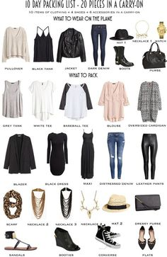 10 Day Packing List 20 pieces