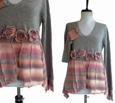 Asymmetric Stripes Cashmere Sweater M/L von RebeccasArtCloset