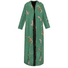 Alexander Arutyunov Silk Embroidered Mink Lined Coat (929 505 UAH) ❤ liked on Polyvore featuring outerwear, coats, silk coat, long coat, green coat, embroidered coat and long green coat