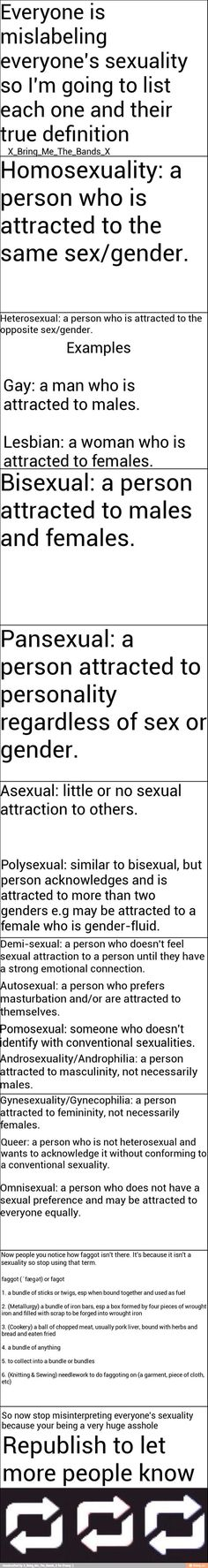 IMPORTANT: Bisexuality is attraction to any 2 genders, not necessarily males and females. I just learned that from a friend in high school.