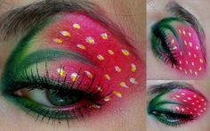 creative eye makeup Pretty sure I would never do this, but that is a fucking strawberry on her eyelid! Halloween Makeup Ideas and Halloween Horror Nights Party Countdown We love love love this Strawberry make up Eye Makeup Tips.Smokey Eye Makeup Tips - Fo Crazy Eye Makeup, Creative Makeup Looks, Eye Makeup Tips, Makeup Blog, Smokey Eye Makeup, Pretty Makeup, Makeup Art, Makeup Ideas, Maquillage Halloween