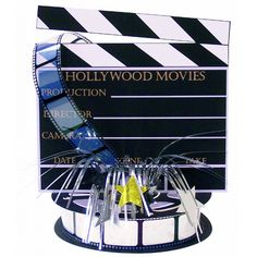 Lights! Camera! Action! Directors Board Foil Spray Centerpiece   Wally's Party Supply Store