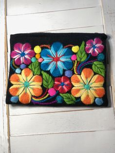 Embroidered Zipper Bag by on Etsy Cross Stitch Embroidery, Hand Embroidery, Machine Embroidery, Zipper Bags, Zipper Pouch, Mexican Rug, Peruvian Art, Mexican Embroidery, Flower Embroidery Designs
