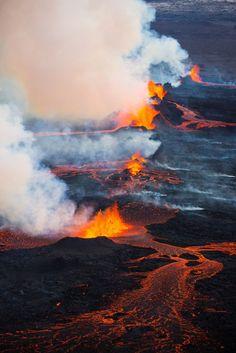 The eruption at Holuhraun lava field ~  just north of Vatnajökull glacier, Iceland
