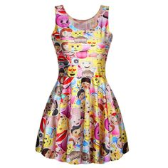 NEW 1000 Sexy Girl Women Summer Cartoon QQ Chat Face emoticon Emoji sysface 3D Prints Reversible Sleeveless Skater Pleated Dress #Affiliate