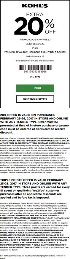 Pinned February 24th: 20% off at #Kohls or online via promo code SAVINGS20 #TheCouponsApp