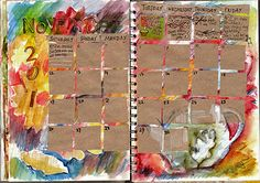 """This would be cute in my Junque Journal - I have a square punch already...I always say to myself, """"Why didn't I think of that?!?!"""" : good idea! Art Journal Pages, Calendar Journal, Art Journals, Diy Calendar, Journal Layout, Filofax, Altered Books, Altered Art, Scrapbooking"""