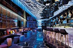 Ozone bar - the highest bar in the world. Positioned on level 118, the top floor of the hotel Ritz Carlton Hong Kong.