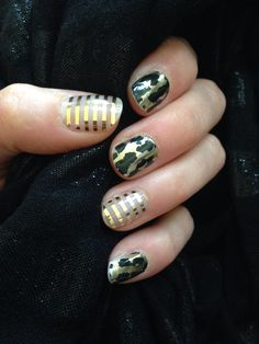 My latest Jamicure! Metallic Gold Pinstripe & Gold Leopard. Get this and more, buy 3 get 1 free, at www.tamarafonseca.jamberrynails.net