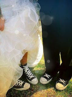 Chuck Taylors - match the color of the wedding ad that makes a very happy summer.