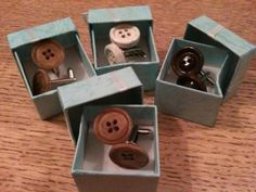 Vintage button cufflinks, a quirky wedding favour for the chaps!