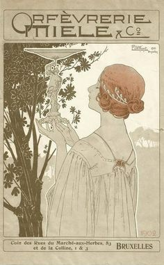 Orfèvrerie Miele Art nouveau style poster ~ by Henri Privet-Livemont ~ 1902 advertising a Belgian goldsmith manufacturer.