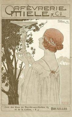 Orfèvrerie Miele Art nouveau style poster ~ by Henri Privet-Livemont ~ 1902 advertising a Belgian goldsmith manufacturer.