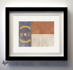 North Carolina Flag Print by texowadesigns on Etsy, $17.00
