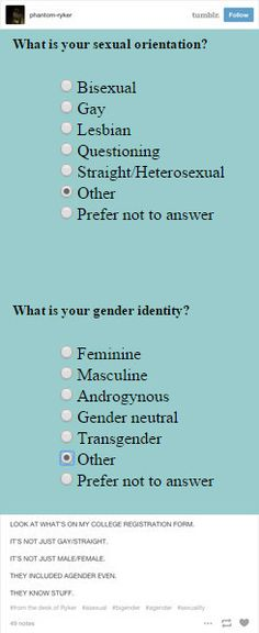 This college admissions form that got it right:   23 Times Tumblr Cleverly Explained What Being Genderqueer Means