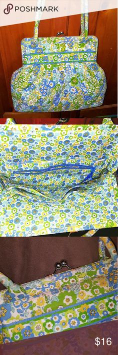 Vera Bradley bag, retro clasp style GUC, perky blue, green, yellow floral design, front pocket, inside pockets, only wear is not evident but along seam at the top of 1 side (see pic 3). Ribbon zipper pull and inside label intact. Vera Bradley Bags