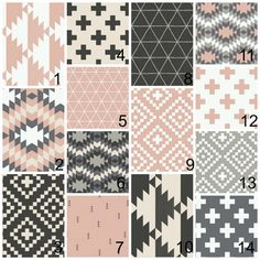 Nursery Bedding Sets - Pink, Black, White, Grey Southwestern Tribal Aztec - Girl Baby Bedding, Boppy Cover, Decorative Pillows, Changing Pad