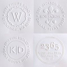 Embosser stamps for your return address.                                                                                                                                                                                 More