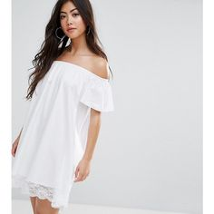 ASOS PETITE Off Shoulder Mini Dress with Lace Hem ($29) ❤ liked on Polyvore featuring dresses, petite, white, petite dresses, off the shoulder lace dress, short white dresses, lace dress and white lace dress