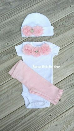 Baby Girl Clothes Girl Take Home Outfit Girl Coming Home Outfit Chelsea Pink Flower Newborn Outfit #babyclothesgirl