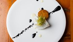 {Sole, Black lLcorice-Pil, Fried Green Tomato, Fennel} The Art of Plating: Tire Tracks of Sauce
