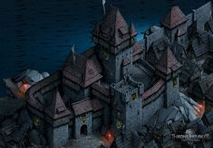 Thronebreaker - The Witcher Tales - Environments, Architecture And Props, Yusuf Artun Fantasy Town, Fantasy Castle, Fantasy Map, Medieval Fantasy, Medieval Fortress, Medieval Castle, Environment Concept Art, Environment Design, Castillo Feudal