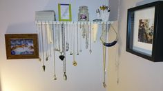 D.I.Y accessory shelf, jewelry hanger/ necklace hanger or storage.