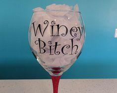 Winey Bitch Glittered Stem Wine Glass