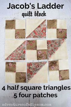 The Jacob's Ladder quilt block uses half square triangles and four patches. Learn how to make it with these step-by-step instructions AND video! Half Square Triangle Quilts Pattern, Quilt Square Patterns, Quilt Patterns Free, Pattern Blocks, Square Quilt, Quilt Block Patterns 12 Inch, Pattern Ideas, Sewing Patterns, Quilting Tips