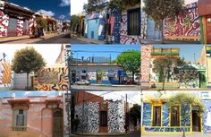 Calle Lanin in Barracas Thanks to the intervention of the artist Marino Santa María, Lanin Street (between Av. Suárez and Brandsen) amended by changing the gray aspect of urban space in an area of ​​high artistic content, incorporating a palette of contrasting colors and shapes Abstract on the facades of houses, from their own works created for support and traditional exhibition spaces, combining art with life itself.