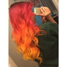 Red orange ombre hair Dyed Hair Pastel Hair ❤ liked on Polyvore featuring hair and hairstyles