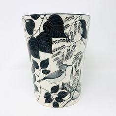Black&White Bird Vase - Handmade, Hand-Painted Ceramic Safari African Art - One of a Kind, Collectable - Hippo Studio - Zimbabwe, Africa Black And White Vase, Zimbabwe Africa, Save The Rhino, Any Birds, Hand Painted Ceramics, Ceramic Painting, African Art, Special Gifts, Safari
