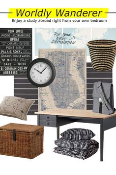Bring this Worldly Wanderer look to life in your college bedroom with linear patterns, map artwork, and places to keep your souvenirs! Maps are a simple way to add a decorative touch and they can help plan your next adventure or keep track of everywhere you've already been.