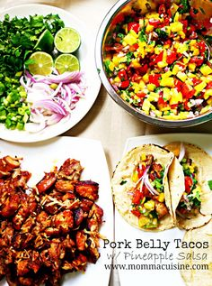 Pork Belly with Pineapple Salsa Tacos Taco Bar Menu, Taco Bar Buffet, Mexican Menu, Mexican Food Recipes, Ethnic Recipes, Tacos, Quesadillas, Enchiladas, Pork Recipes