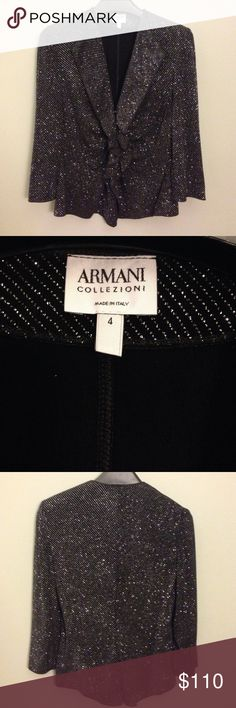"""Armani Collezioni Black Tie Blazer 🎩 Talk about sparkle!!! Armani blazer with metallic sparkle & ruffle detail that covers the 4 front snaps. Looks barely worn! Made in Italy 🇮🇹. Size 4.  94% Acetate, 6% spandex. Measures approximately 20"""" top to bottom.  Shoulder to shoulder 13"""".  Sleeves 16.5"""".  RN # 103723, CA # 37360. Armani Collezioni Jackets & Coats Blazers"""