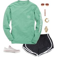 A fashion look from October 2014 featuring NIKE shorts, Converse sneakers and Banana Republic bracelets. Browse and shop related looks. Adrette Outfits, Lazy Day Outfits, Sporty Outfits, Athletic Outfits, Spring Outfits, School Outfits, Athletic Clothes, Everyday Outfits, Preppy Style