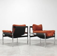 Jerry Johnson and Byron Bekter; #603 Polished Chrome and Mahogany Sling Chair for Landes Manufacturing, 1970s.