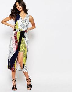 Image 4 ofRiver Island Printed Tie Waist Wrap Dress