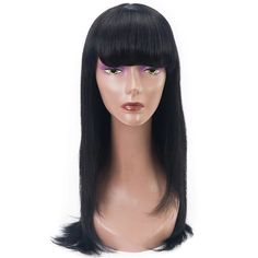Lace Front Black Wig wigs on sale for african american mayde Lace hair – iloverbeauty Black Hair Wigs, Black Wig, Long Black Hair, Large Box Braids, Medium Box Braids, Sleek Hairstyles, Box Braids Hairstyles, Remy Human Hair, Human Hair Wigs