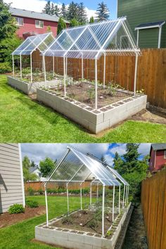 How to build durable and cheap raised bed garden using cinder blocks and protective canopies for the Seattle rain. Backyard Greenhouse, Backyard Vegetable Gardens, Greenhouse Plans, Veg Garden, Vegetable Garden Design, Backyard Landscaping, Outdoor Gardens, Homemade Greenhouse, Cheap Raised Garden Beds
