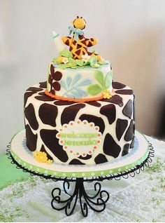 Giraffe baby shower cake for boy by adgal715, via Flickr