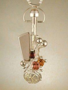 Gregorio Pyra Piro Plata de Ley y Oro Perfume Botella #Colgante 1800